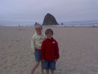 Audrey and AUsten at Haystack Rock.  Where is One-Eyed Willie?