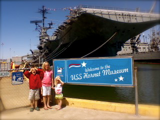 In Front of the USS Hornet.